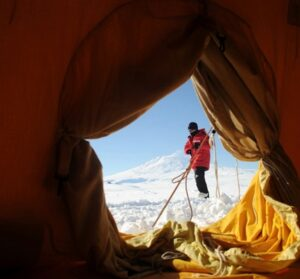 A view from inside a tent on the ice.