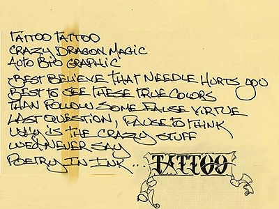 Lyrics to the Van Halen song, Tattoo, from Van Halen News Desk