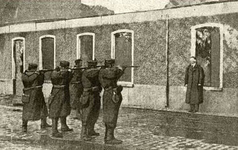A photograph of death by firing squad