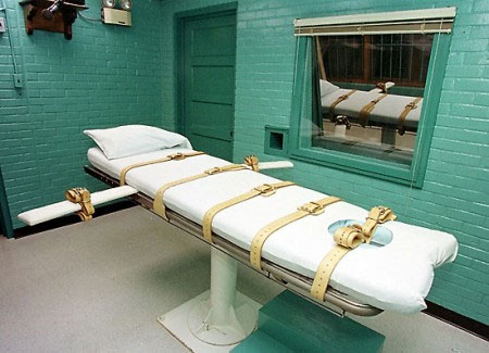 Photo of a bed used for lethal injection