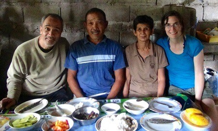 Katharine Wiegele with fisherfolk in Batangas, Philippines.