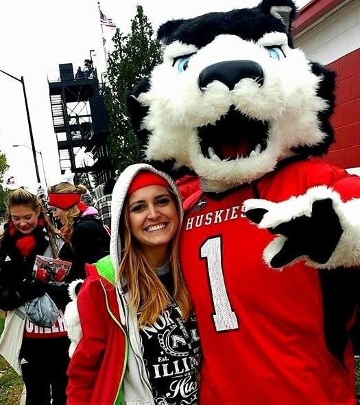 With Victor E. Huskie at a football game.