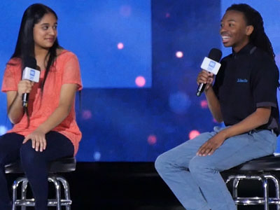 Randiss Hopkins speaks April 30 at We Day Illinois.