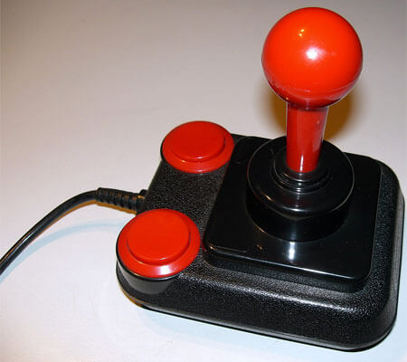 Photo of a retro, red-ball joystick
