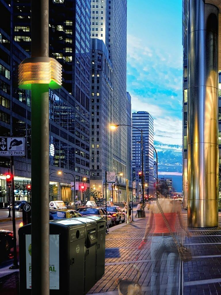 Artist rendering of Array of Things nodes mounted on city streetlight poles. Credit: Douglas Pancoast & Satya Mark Basu, School of the Art Institute of Chicago/Array of Things