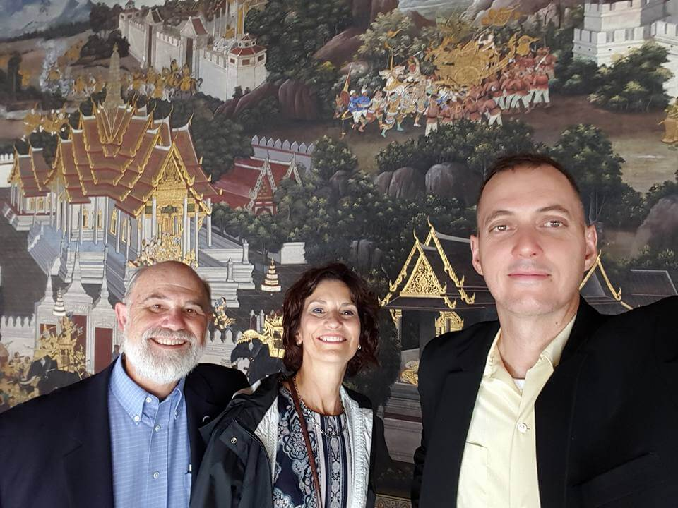Kurt Thurmaier, Denise Burchard and Aaron Deslatte at the Grand Palace in Bangkok.