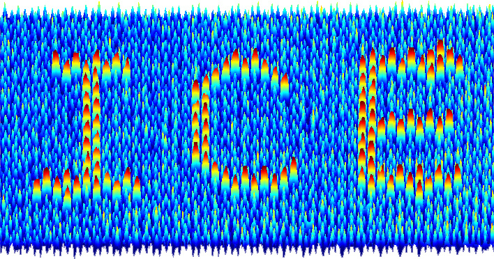 "An image produced by mapping the magnetic force of magnetic charge ice. Scientists were able to ""write"" in the field through control of the local charge of the material. (Image credit: Yong-Lei Wang and Zhili Xiao)"