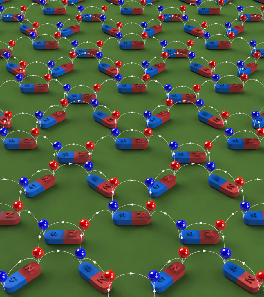 A depiction of magnetic charge ice. Nanoscale magnets are arranged in a two-dimensional lattice. Each nanomagnet produces a pair of magnetic charges, one positive (red ball on the north pole) and one negative (blue ball on the south pole). The magnetic flux lines (white) point from positive charges to negative charges. (Image credit: Yong-Lei Wang/Zhili Xiao)