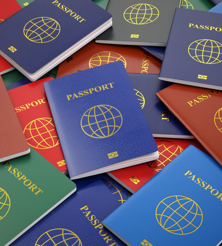 Passports, different types. Travel turism or customs concept bac