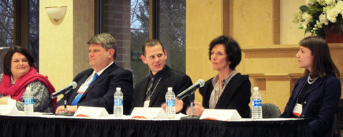 Panelists, from left: Jennifer McCormick, John Burkey, Jason Underwood, Susan Goldman and Danielle Baran.