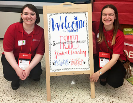 Bailey Fisch (left), Special Education major, and Nycol Durham (right), Early Childhood Education major