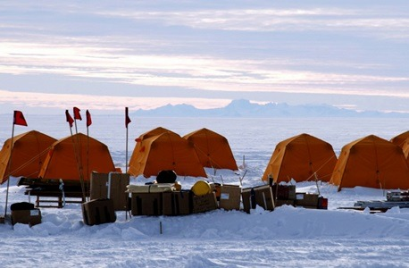The 2013 WISSARD project camp in Antarctica.