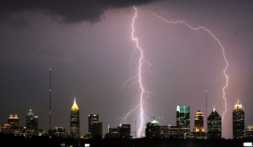 Lightning over Atlanta. Credit: David Selby/Wikimedia Commons