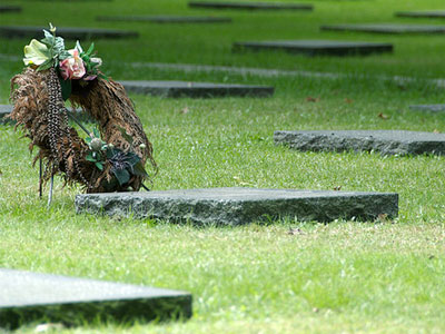 Photo of a wreath in a cemetery