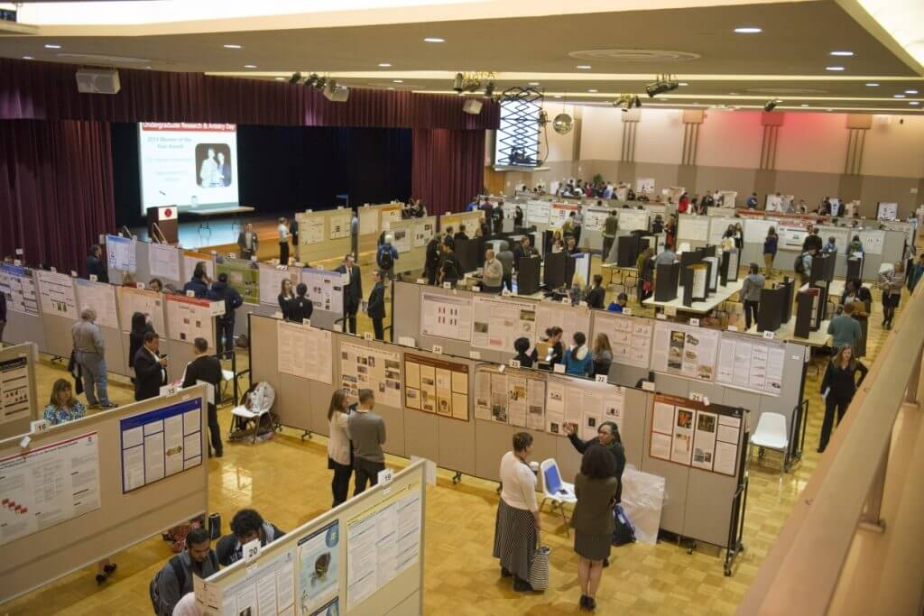 More than 350 students participated in the 2015 Undergraduate Research and Artistry Day and Community Engagement Showcase in the Duke Ellington Ballroom of the NIU Holmes Student Center