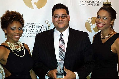 Jorge Rodas, flanked by Candice Beasley and Lauren Scott, at the Chicago/Midwest Emmy® awards.