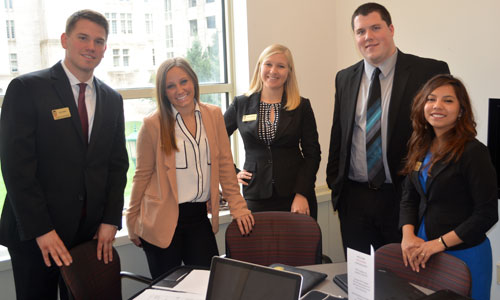 Christian, far right, was part of a team of marketing students who took third in a national sales competition.