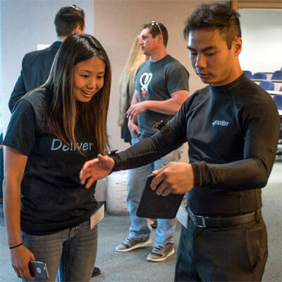 Doug Hoang, CEO and founder of Enflux, took home second prize for his 4Motion gym clothing.