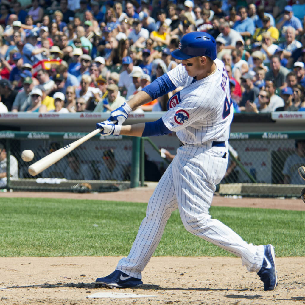 Anthony Rizzo squares up on a ball (Wikimedia Commons upload by UCinternational)
