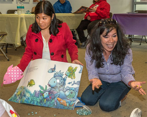 """""""Go Teacher"""" students from Ecuador at NIU's Literacy on the Lawn event"""