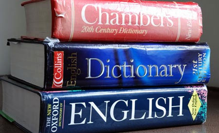 A stack of English dictionaries
