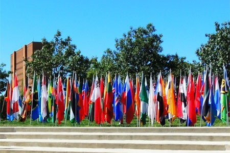 International flags in the MLK Commons