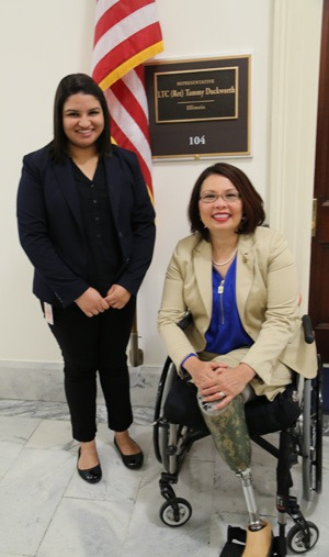 Kiranjit Gill with Congresswoman Tammy Duckworth.