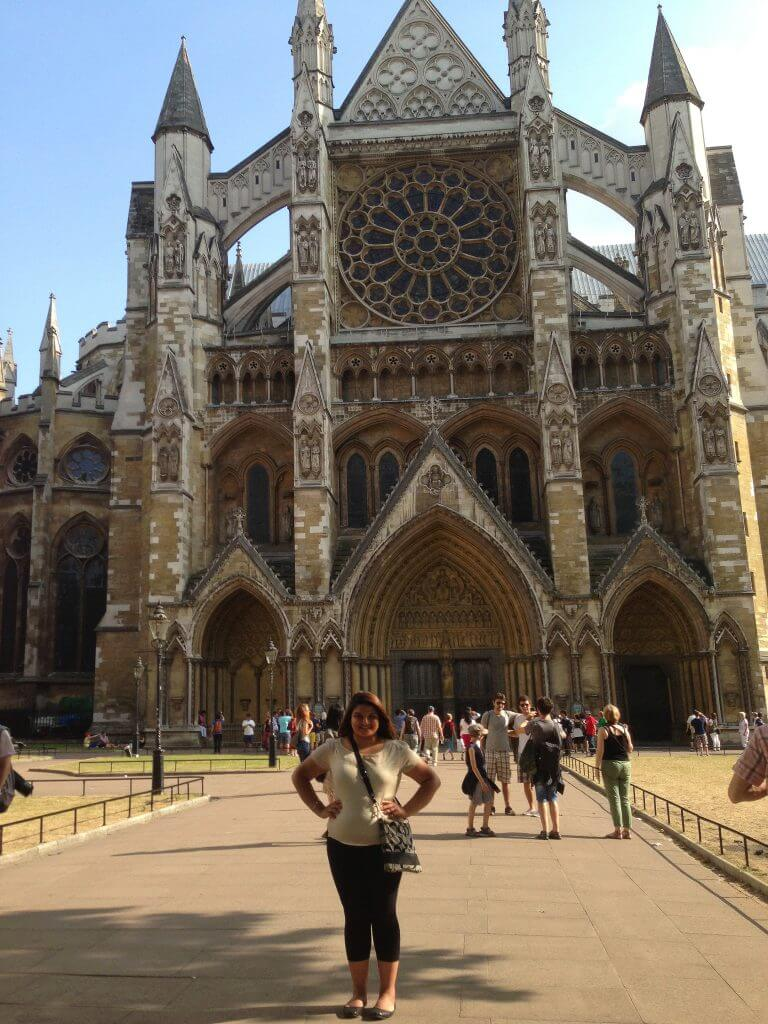 Kiranjit Gill visits Westminster Abbey in London during her freshman year study abroad experience.
