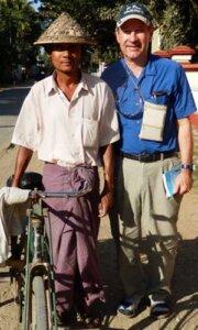 Kenton Clymer in 2013 with a pedicab driver in Sittwe, Rakhine State, Myanmar