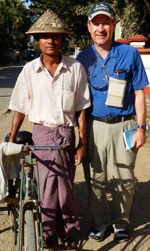 Kenton Clymer with a pedicab driver in Sittwe, Rakhine State, Myanmar