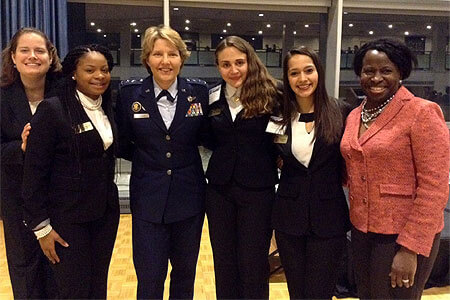 Lt. Gen. Michelle D. Johnson (third from left), superintendent of the United States Air Force Academy, joins (from left) Sarah Militz-Frielink, Shanell Walter, Maria Colompos, Karina Avila and retired Col. Gail B. Colvin at the 2015 National Character and Leadership Symposium.