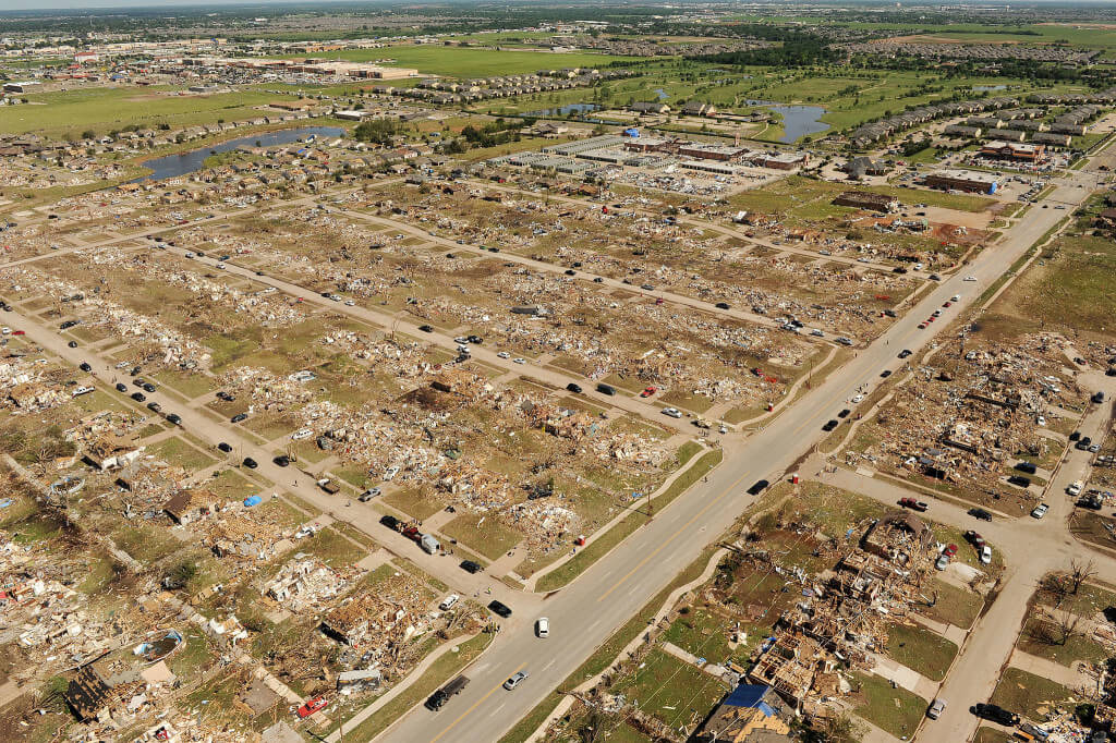 An aerial view of the damage caused by the 2013 tornado that touched down in Moore, Okla. Source: FEMA Photo Library.
