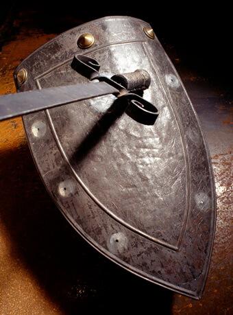 Sword on top of shield