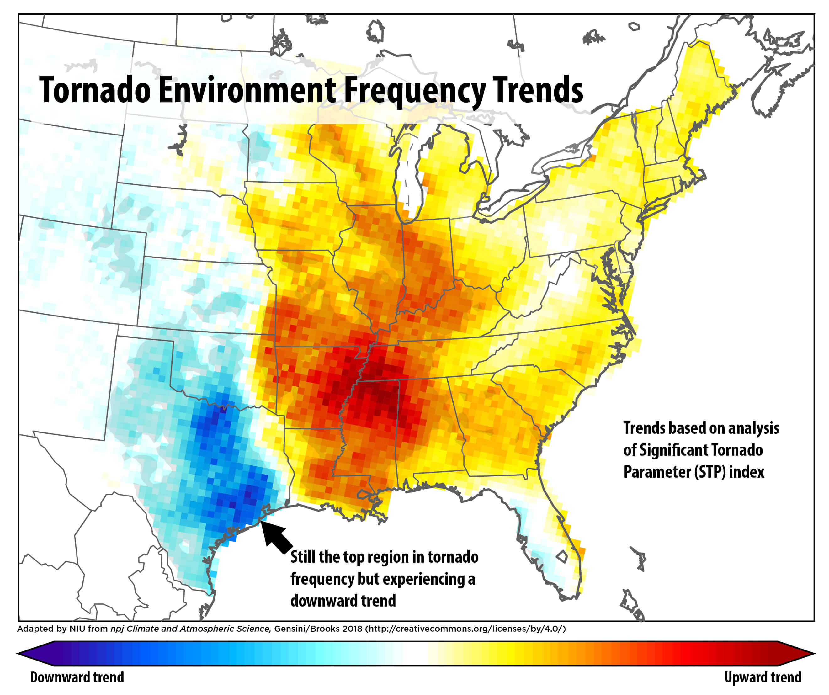Study Us Tornado Frequency Shifting Eastward From Great Plains - Us-tornado-map