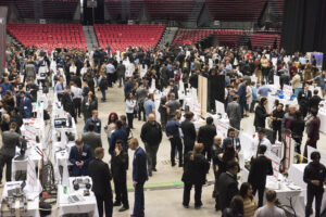 Birdseye view of the 2019 senior design showcase at the NIU Convocation Center